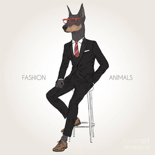 Office Digital Art - Doberman Pinscher Dog Dressed Up In by Olga angelloz