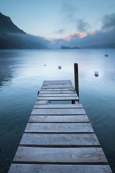 Bleached Photograph - Dock And Buoys, Lake Sils, Engadin by F. Lukasseck