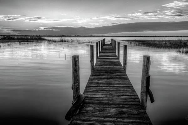 Photograph - Dock At Sunset In Black And White by Debra and Dave Vanderlaan