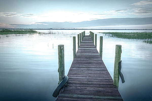 Photograph - Dock At Sunset Morning Softness by Debra and Dave Vanderlaan