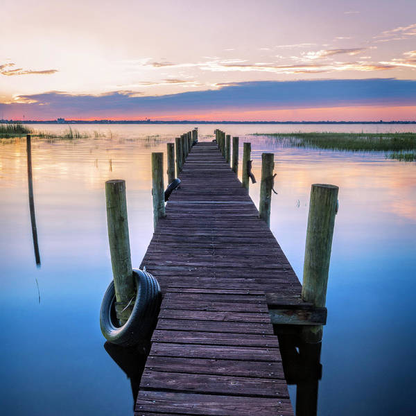 Photograph - Dock Into Dawn In Square by Debra and Dave Vanderlaan