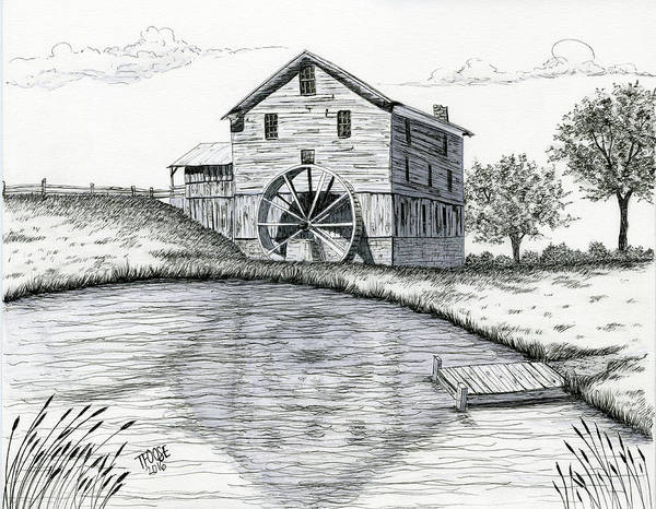 Wall Art - Drawing - Dock Mill by Taphath Foose
