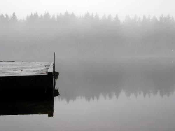 Jetty Photograph - Dock On Foggy Lake by Allison Mcd Photography