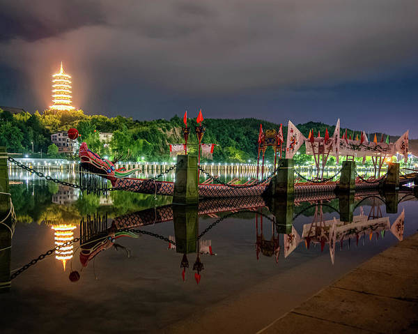 Photograph - Docked Dragon Boat At Night II by William Dickman