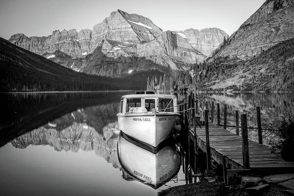 Photograph - Docked Morning Eagle Bw by Harriet Feagin