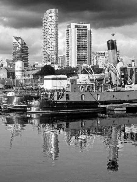 Photograph - Docklands Boats And Construction Black And White Vertical by Gill Billington