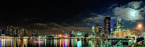 Photograph - Docklands Moonlight Panorama by Kai O'yang