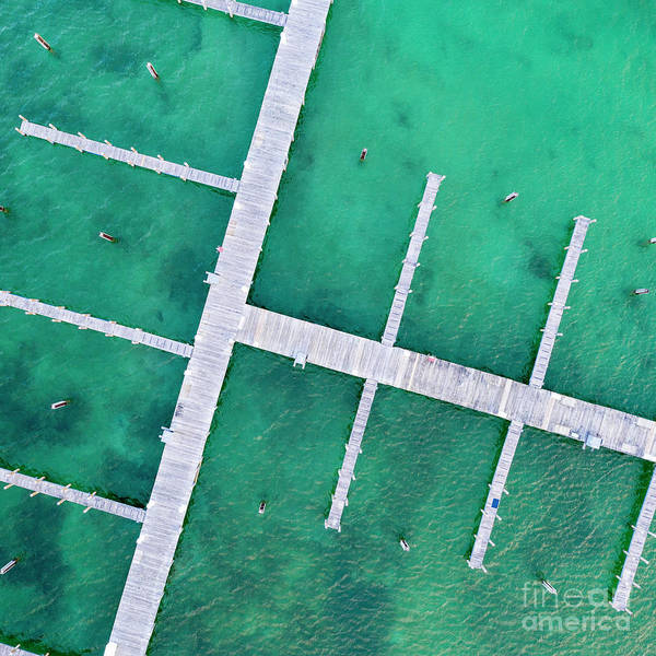 Download Photograph - Docks In Elk Rapids Aerial by Twenty Two North Photography
