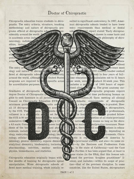 Wall Art - Digital Art - Doctor Of Chiropractic Gift Idea With Caduceus Illustration 01 by Aged Pixel