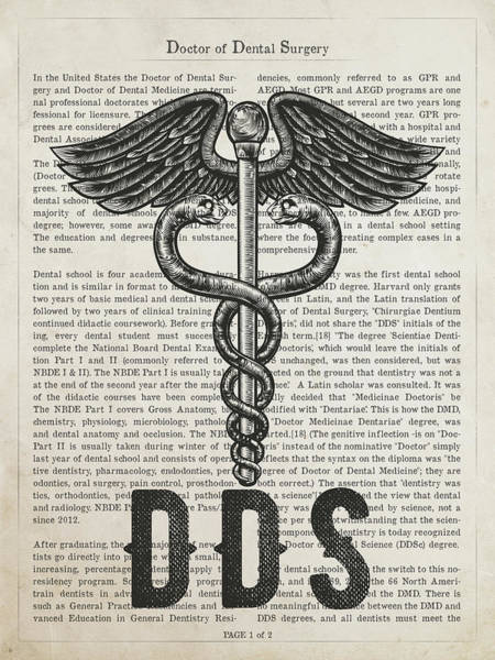 Wall Art - Digital Art - Doctor Of Dental Surgery Gift Idea With Caduceus Illustration 01 by Aged Pixel