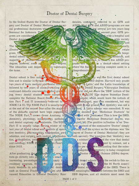 Wall Art - Digital Art - Doctor Of Dental Surgery Gift Idea With Caduceus Illustration 03 by Aged Pixel