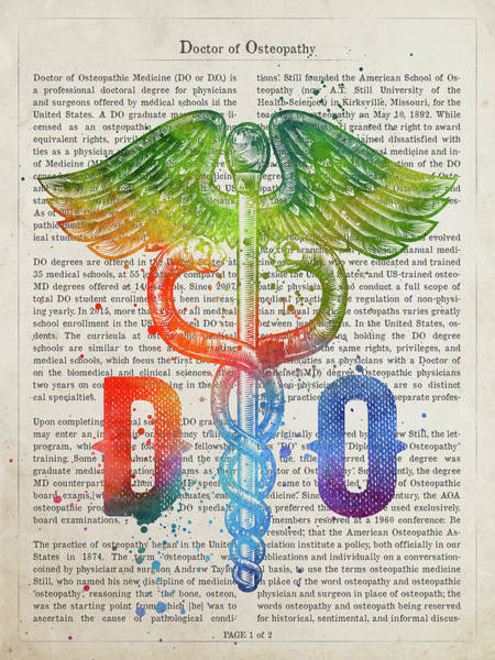 Doctors Office Wall Art - Digital Art - Doctor Of Osteopathy Gift Idea With Caduceus Illustration 03 by Aged Pixel