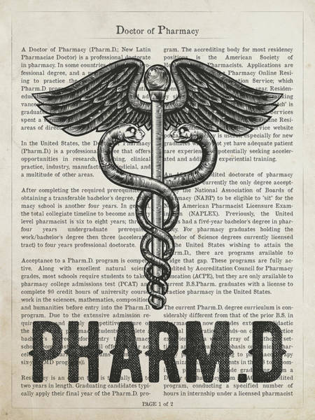 Wall Art - Digital Art - Doctor Of Pharmacy Gift Idea With Caduceus Illustration 01 by Aged Pixel