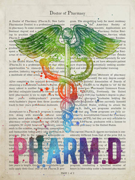 Wall Art - Digital Art - Doctor Of Pharmacy Gift Idea With Caduceus Illustration 03 by Aged Pixel