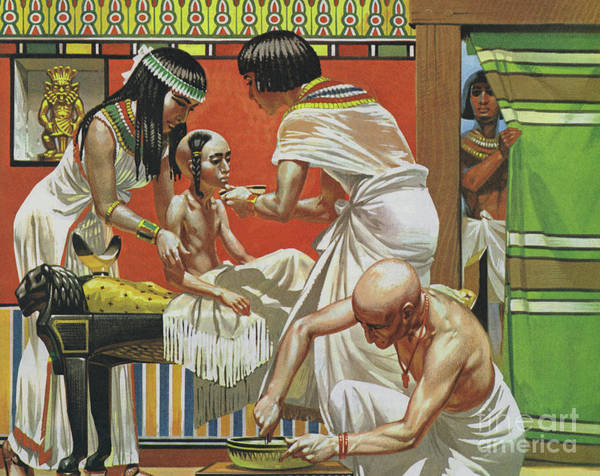 Medicine Painting - Doctor Treating A Child In Ancient Egypt  by Angus McBride