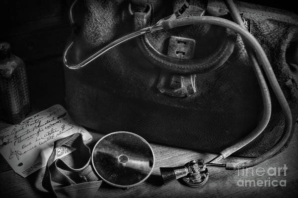 Wall Art - Photograph - Doctor - Vintage Medical Bag Black And White by Paul Ward