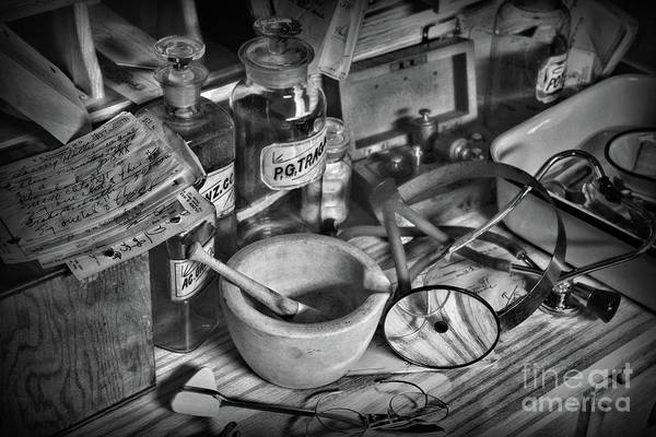 Wall Art - Photograph - Doctor Your Desk Is A Mess In Black And White by Paul Ward
