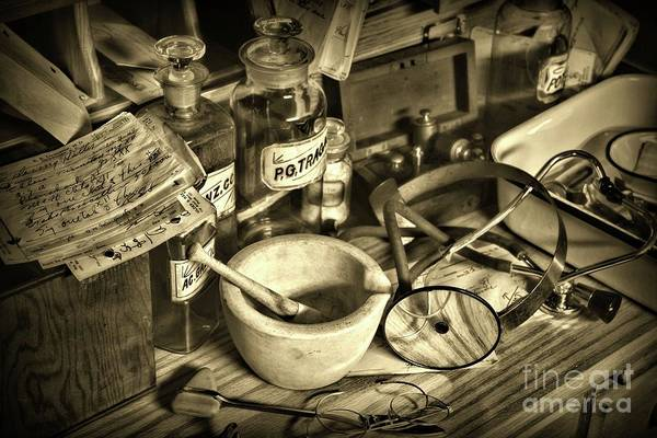 Wall Art - Photograph - Doctor Your Desk Is A Mess In Sepia by Paul Ward