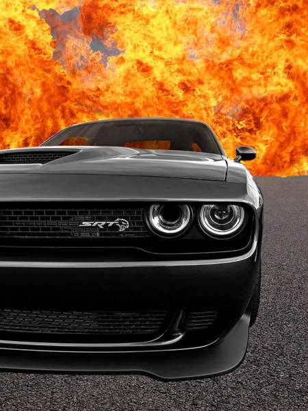 Wall Art - Photograph - Dodge Hellcat Srt With Flames by Gill Billington