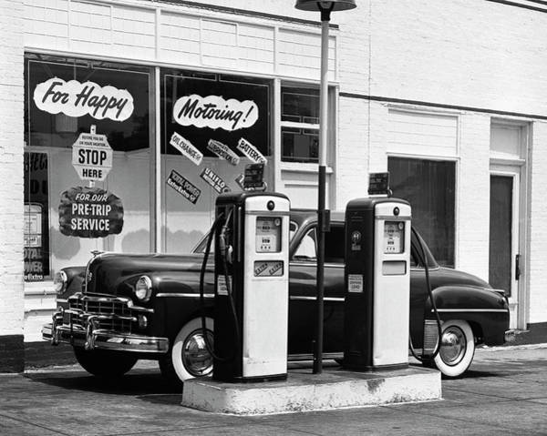 Land Mark Photograph - Dodge In Service Station by George Marks