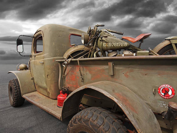 Photograph - Dodge Wc Ww2 Truck With 1942 Harley Davidson by Gill Billington
