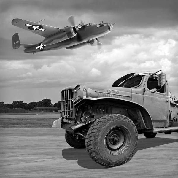 Wall Art - Photograph - Dodge Ww2 Military Truck With B-25 Bomber by Gill Billington