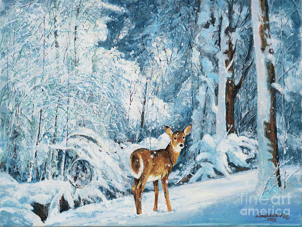 Wall Art - Painting - Doe In Snow by Don Langeneckert