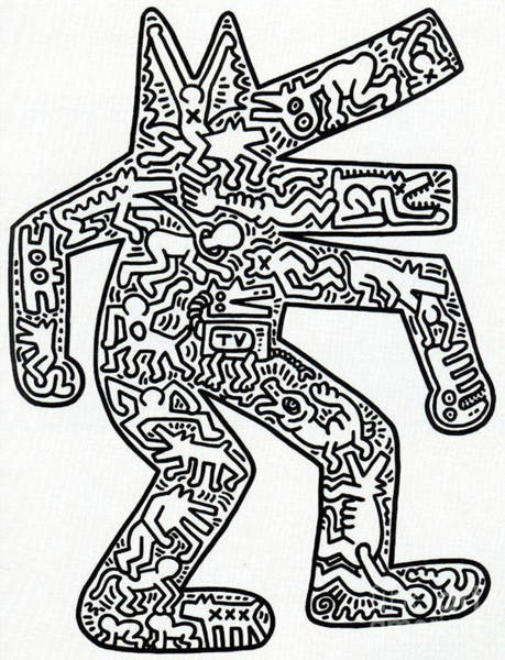 Wall Art - Painting - Dog 1986 by Haring
