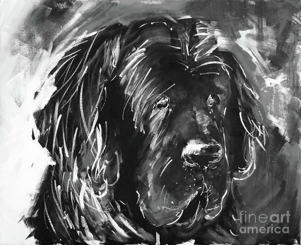 Riviere Painting - Dog Black And White  by Gull G