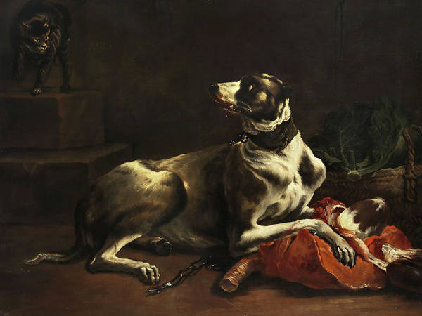 Wall Art - Painting - Dog Eats Meat by Dutch painter of the 17 and 18 century