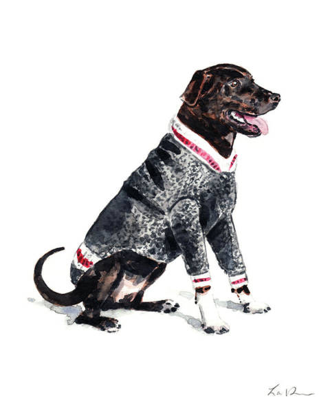 Wall Art - Painting - Dog In A Varsity Sweater by Laura Row