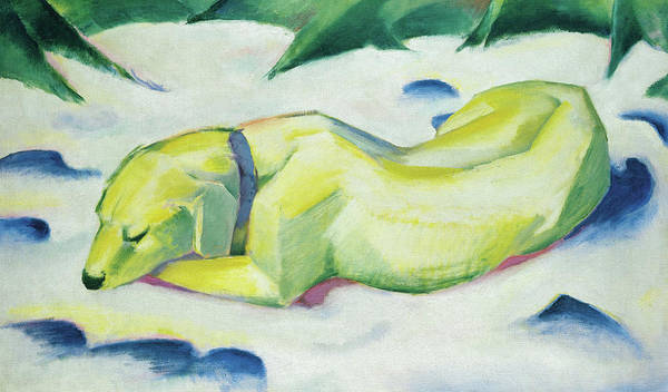 Wall Art - Painting - Dog Lying In The Snow, Siberian Shepherd Dog by Franz Marc