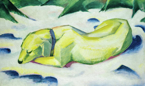 Wall Art - Painting - Dog Lying In The Snow, Siberian Shepherd Dog,1911 by Franz Marc