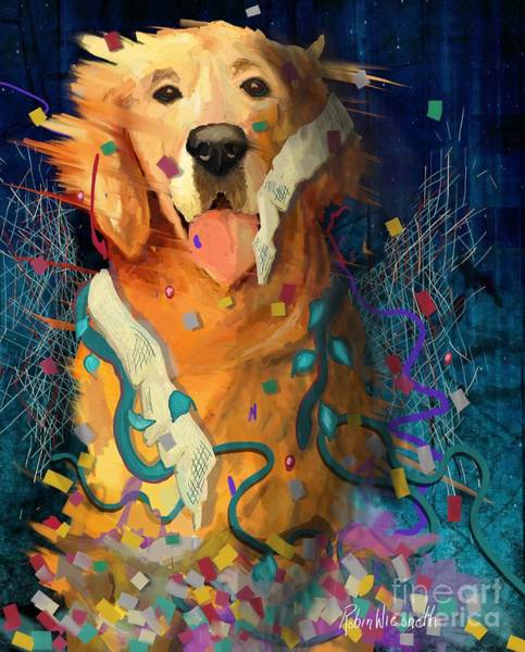 Golden Retriever Digital Art - Dog Party by Robin Wiesneth