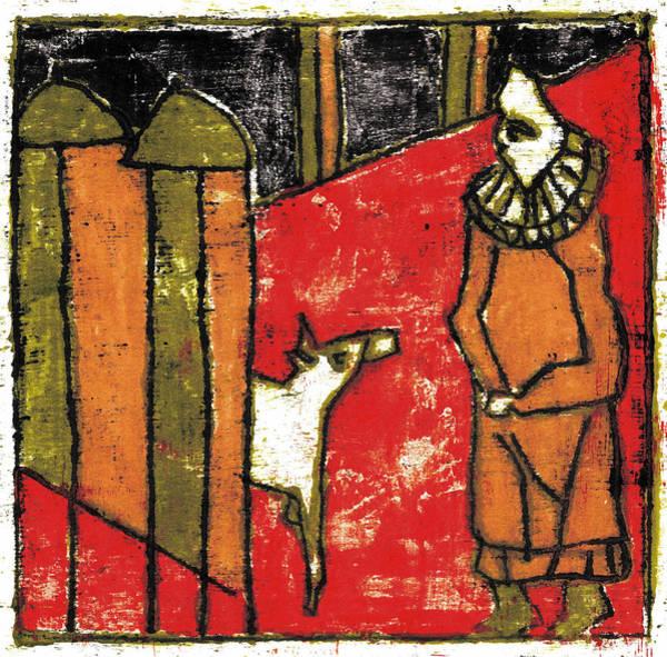 Painting - Dog Street Man 2 by Artist Dot