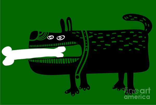 Dog With A Big Bone In His Mouth Art Print