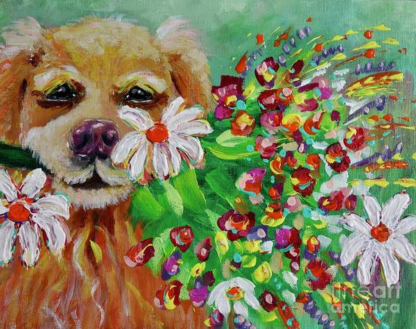 Painting - Dog With Flowers by Jacqueline Athmann