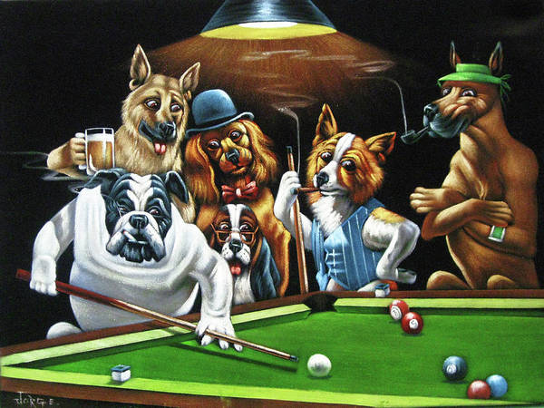 Coolidge Painting - Dogs Playing Pool After Original By Coolidge   by Jorge Torrones
