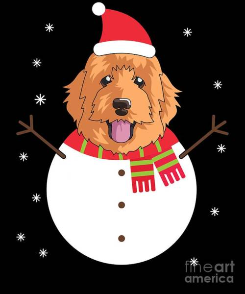 Golden Retriever Digital Art - Dogsnowman Doodle by Carlos Ocon
