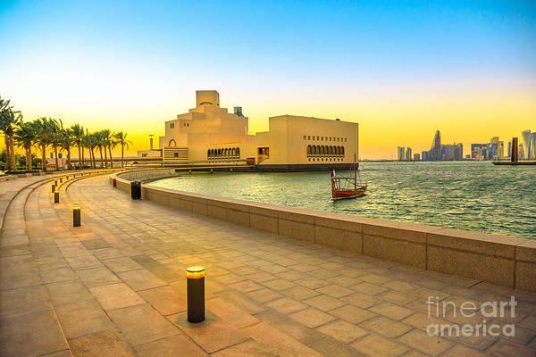 Photograph - Doha Bay Landscape At Sunset by Benny Marty