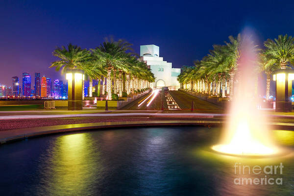 Photograph - Doha Fountain By Night by Benny Marty