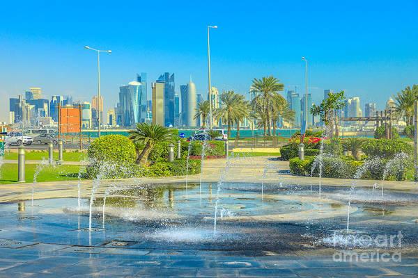 Photograph - Doha Fountain Corniche by Benny Marty