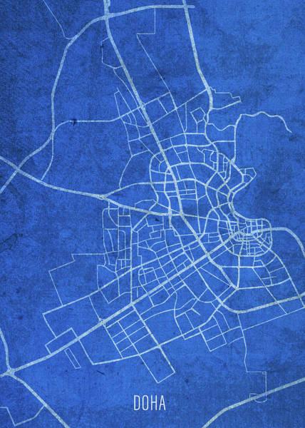 Wall Art - Mixed Media - Doha Qatar City Street Map Blueprints by Design Turnpike