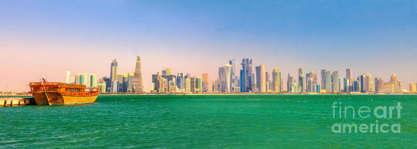 Photograph - Doha Skyline And Dhow by Benny Marty
