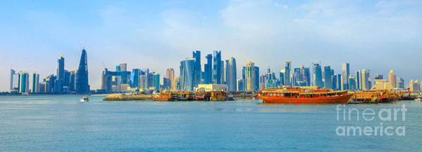 Photograph - Doha Skyline And Dhows by Benny Marty