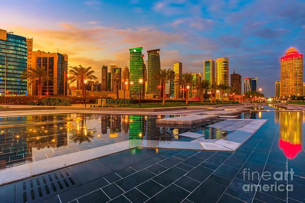 Photograph - Doha Skyline Twilight by Benny Marty