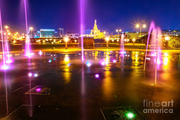 Photograph - Doha Water Fountain Night by Benny Marty