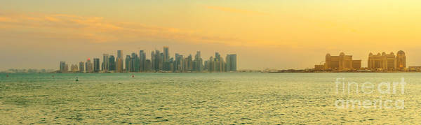 Photograph - Doha West Bay Banner by Benny Marty