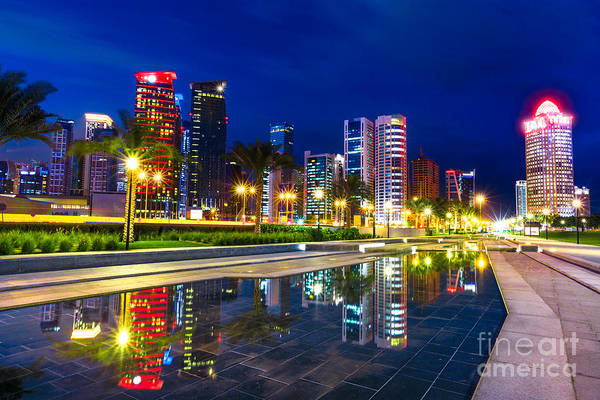 Photograph - Doha West Bay Night by Benny Marty