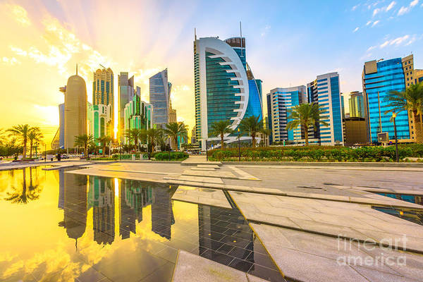 Photograph - Doha West Bay Reflection by Benny Marty